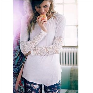 Anthropologie - Bordeaux - Lace Sleeve Tee